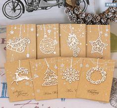 New Arrival 11pcs/lot of Business Handmade Christmas Cards,8 Designs Wood Laser Cut Ornament Christmas Greeting Cards For Sale