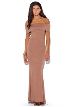 WINE AND LIES | mocha beige off shoulder fold over evening party jersey maxi dress - 1015store.com