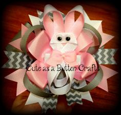 SET OF TWO Easter boutique hair bow