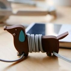 BDS - Cute Cartoon (Dachshund Dog) Earphone Winder / Cord Manager / Cable Winder + One Free Smart Wrap Silicone Rubber Earphone/earbud Cord Manager Cable Winder Wrap Reel
