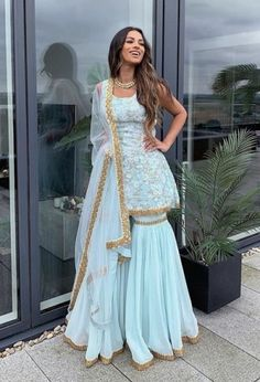 Buy Sky Blue Color Sharara Suit by Akanksha Singh at Fresh Look Fashion Indian Outfits Modern, Indian Fashion Dresses, Party Wear Indian Dresses, Designer Party Wear Dresses, Dress Indian Style, Indian Wedding Outfits, Punjabi Fashion, Indian Dresses For Girls, Punjabi Suits Party Wear