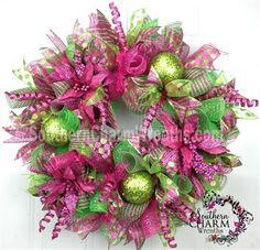 How to Make Deco Mesh Christmas Wreathes