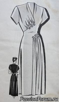 """Mail Order ca. mid to late Misses' Dress Add a photo to the gallery by clicking the """"modify"""" button below. Source by lespetitsbeldi Kleider 1940s Dresses, Vintage Dresses, Vintage Outfits, Vintage Clothing, Vintage Dress Patterns, Clothing Patterns, Skirt Patterns, Coat Patterns, Blouse Patterns"""