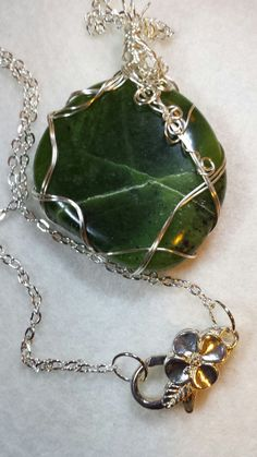 Handcrafted Wire Wrapped Round Nephrite Jade Gemstone Pendant