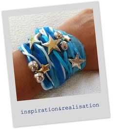 Wrap bracelets are a big number this summer  ...And they are so DIY-able!  This is the one with lots of turquoise and blue, two charms and few beads