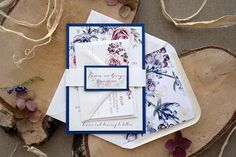 This invitation is a SAMPLE. CUSTOM ORDERS ---> Please, contact me by etsy conversation. ------- WE LOVE this invitation!! Its oh-so-pretty!!!! Is a Classic Navy Blue Wedding Invitation Sample that is unique. The Navy Blue match with the colors of the Flowers. If you love nature,