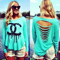The infamous dripping Chanel shirt! Now available ONLINE in mint, only $16.99! Also available in store at Sophie & Trey in mint, white & black! Call 407.324.5747 or shop     http://www.sophieandtrey.sophieandtrey.com/index.php?route=product%2Fproduct=65_id=1330
