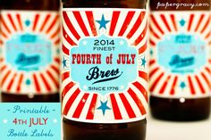 2014 Printable 4th of JULY Beer Bottle Labels by papergravystore #etsy #4thofjuly #beer