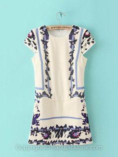 Beige Round Neck Short Sleeve Vintage Pattern Print Chiffon Dress -$33.09