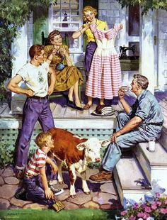 Family on front porch Vintage Illustration Art, Vintage Artwork, Vintage Posters, Vintage Paintings, Vintage Pictures, Old Pictures, Vintage Images, Mary Cassatt, Retro Art