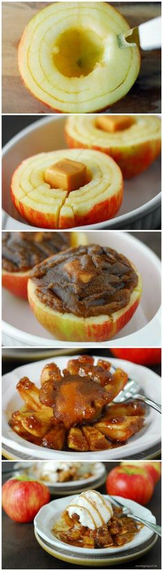 Cut the top off of an apple. Scoop out the core and cut two circles around the center. Slice the sides and place a caramel in the center of the apple. Spread cinnamon and sugar on top and bake until tender. Serve warm and top with ice cream.