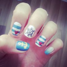 My summer time nails #summer #time #nails #blue #and #white # ombre #heart #anchor #rudder