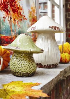 Ceramic Mushrooms Decor
