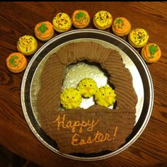 Chocolate cupcake Easter basket with yellow cake chicks :) happy easter!