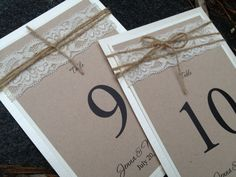 Lace Table Numbers Kraft Paper Twine Rustic