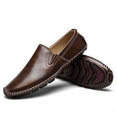 finest selection 37425 bab9f Men Hand Stitching Leather Slip Resistant Casual Driving Loafers