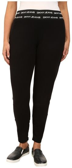 DKNY Jeans Plus Size Logo Elastic Leggings in Noir *** Be sure to check out this awesome product.