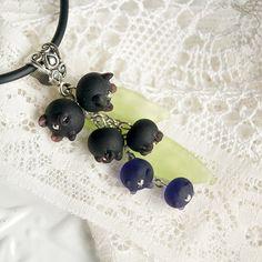 Blueberries lampwork pendant indigo necklace by KatyaGlass on Etsy