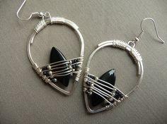 silver boho earrings with black beads dangle by fancyyoudesigns