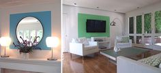 a color block can be a frame for an object,such as a painting, mirror or flat-screen TV