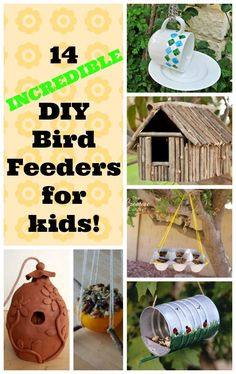An adorable collection of DIY bird feeders for kids to make. Love the reuse them, great for preschoolers!