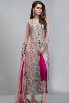 The Stylish And Elegant Pant Style Suit In Baby Pink Colour Looks Stunning And Gorgeous With Trendy And Fashionable Swiss Tulle Fabric Looks Extremely Attractive And Can Add Charm To Any Occasion. Th...
