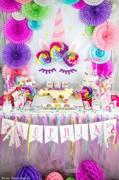 Check out this amazing Unicorn Birthday Party! love the dessert table!! See more party ideas and share yours at CatchMyParty.com #uncornbirthdayparty #unicorndesserttable #unicornpartydecorations