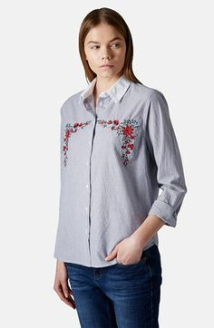 Topshop Embroidered Cotton Shirt available at #Nordstrom