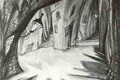 original sketch for a scene in The Cabinet of Dr Caligari...Sein und Werden mag