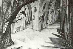 original sketch for a scene in The Cabinet of Dr Caligari...Sein und Werden mag