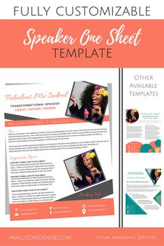 speaker one sheet template edgy | allison denise designs, Presentation templates
