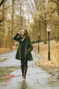 Lime green coat, tall boots