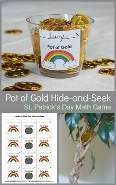 St. Patrick's Day Math Game for Kids: Hide-and-Seek counting game with free printable. Fun pot of gold learning activity for the classroom or home! ~ BuggyandBuddy.com