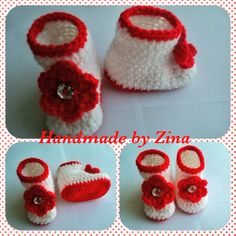 Red crochet newborn baby booties £10