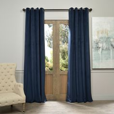 EFF Exclusive Fabrics Midnight Blue Grommet Velvet Blackout Curtain Panel (108-Inch), Size 50 x 108 (Polyester, Solid)
