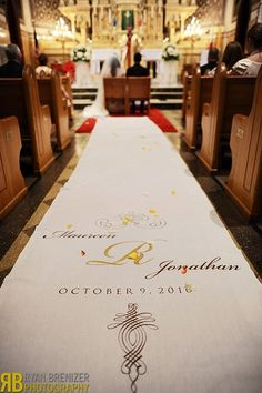 Aisle runner  with our name, date and wedding logo