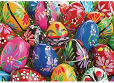 Ukranian Pysanky Easter Eggs by GourmetGiftBaskets. Easter Puzzles, Polish Easter, Polish Folk Art, Cute Easter Bunny, Ukrainian Easter Eggs, About Easter, Paint And Sip, Easter Colors