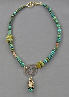 turquoise and green jade necklace with copper; centerpiece is hammered bronze with bronze drop and turquoise; Jewelry by Mirinda Kossoff