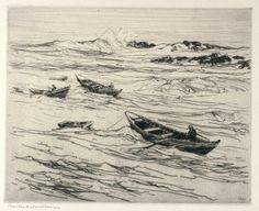 """Easterly Coming,"" Charles Herbert Woodbury, etching, Cleveland Museum of Art."