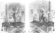 """Through the Looking-Glass - Climbing up on the fireplace mantel, she pokes at the wall-hung mirror behind the fireplace and discovers, to her surprise, that she is able to step through it to an alternative world. In this reflected version of her own house, she finds a book with looking-glass poetry, """"Jabberwocky"""", whose reversed printing she can read only by holding it up to the mirror."""