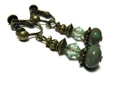 Screw Back Earrings Turquoise Blue Green Antiqued by SharkysWaters