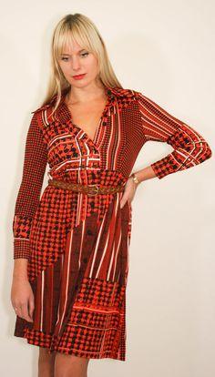 Berry Red 70 s Vinatge button up dress Button Up Dress 62e04ba3e