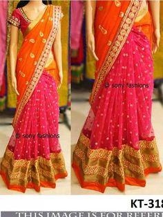 Half Saree Lehenga, Saree Look, Net Saree, Pink Saree, Half Saree Designs, Saree Blouse Designs, Blouse Patterns, Party Wear Sarees Online, Soft Silk Sarees