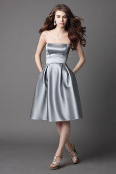 Strapless A-line fancy satin bridesmaid dress