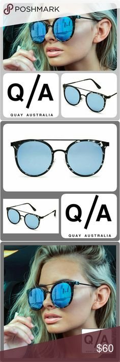 "🆕 Authentic Quay Australia ""Kandygram"" Sunglasses AUTHENTIC Quay Australia Sunglasses Style Name ""Kandygram"". These rounded modernized aviator sunnies feature black Tortoise Frames with Blue Mirrored Lenses and contrasting metal details and arms, a double bridge, and adjustable nose pads.  Please keep in mind that these gorgeous sunnies are a boutique item. They are brand new, not used, and arrive from the manufacturer _._._._._ Metal & Polycarbonate Frame. 100% UV Protection  Width: 150mm…"