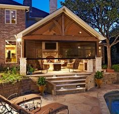 Backyard Pavilion, Backyard Retreat, Backyard Play, Cabana, Backyard Patio Designs, Patio Ideas, Modern Backyard, Patio Pictures, Outdoor Living Rooms