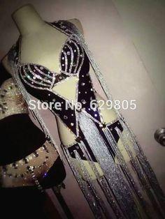Sexy Black Rhinestone Tassel Outfit Fashion Women Shining Bra Short Costumes Stage Dance Clothing Set Party Celebrate Dresses