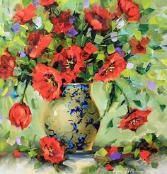 Afternoon Light Red Tulips and a Colorful Trip Down Memory Lane by Texas Artist Nancy Medina, painting by artist Nancy Medina