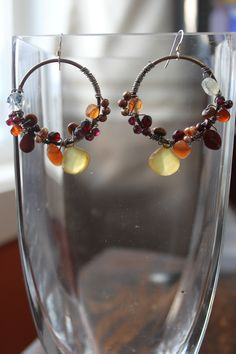Cluster Wrapped Earrings with Yellow Chalcedony Drops