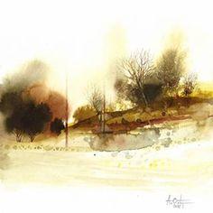 Watercolor Landscape, Abstract Watercolor, Abstract Landscape, Watercolour Painting, Landscape Paintings, Abstract Art, Watercolours, Vignettes, Minis